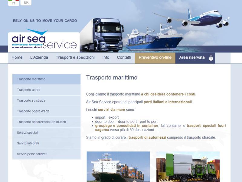 sito web realizzato per air sea service